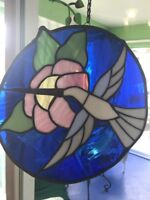 Vintage Hummingbird Stained Glass Sun Catcher Window Hanging Art Large 12""