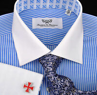Blue Small Striped Formal Business Dress Shirt Contrast Double Cuff White Collar
