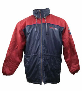Vintage 90s Reebok Rain Jacket Navy Blue Red Hooded XL Men's Baggy Oversized
