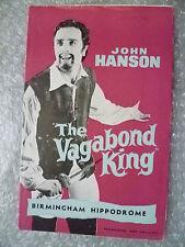 1960 Theatre Programme The Vagabond King- John Hanson, Rudolf Friml