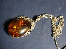 OLD PAWN BALTIC AMBER ESTATE 925 STERLING SILVER BIG CHUNKY NECKLACE
