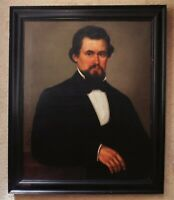 19th c. Portrait Painting Gentleman Man Antique Victorian Oil on Canvas