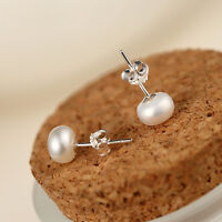 7mm 925 Sterling Silver Freshwater Pearl Stud Earrings