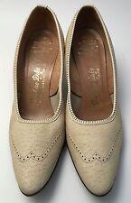 Vintage De Liso Debs Swagger Beige Wingtip Rockabilly Heels Shoes Size 7 1/2 A