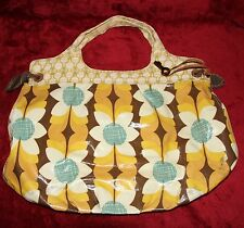 FOSSIL Purse Coated Canvas Floral Shoulder Bag Hobo Key Yellow Orange FALL COLOR