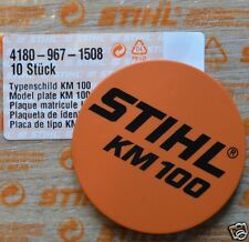 Genuine STIHL KM100 Modelo Placa km 100 Nombre Badge 4180 967 1508 seguimiento