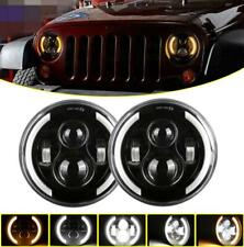Pair 7 inch Round LED Headlights HI-Lo Beam For Freightliner Coronado 2001-2016