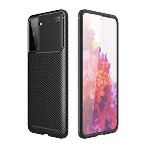Case for Samsung Galaxy S21 Carbon Fibre Black TPU Soft Protective Cover
