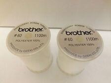 Due BROTHER MACCHINA DA CUCIRE BIANCO RICAMO Bobbin thread 1100M (metri) ebtcen