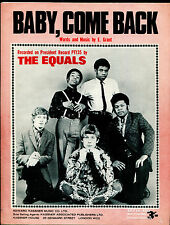 The Equals : Baby, Come Back :  original UK 1960's Sheet Music