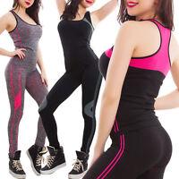 Tuta donna sport completo top canotta vogatore pantaloni fitness nuova SL9088