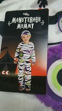 Baby Boys Monster Mummy 2 Piece Fancy Dress Costume/All In One Outfit ~ 1-2 Yrs