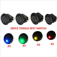 20PCS LED Dot Light 12V Car Auto Boat Round Rocker ON/OFF TOGGLE SPST SWITCH