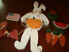 Holiday and Seasonal Wooden Rabbit with Various Symbols Celebrating a Year  Used