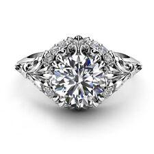 14kt White Gold Diamond Moissanite Rings 2.25 Ct Engagement Ring Fine Round Cut
