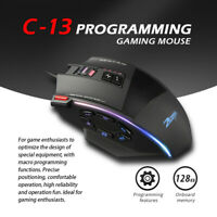 Zelotes C13 Gaming Mouse 10000 DPI 13 Programmable Buttons RGB LED Light Mice UK