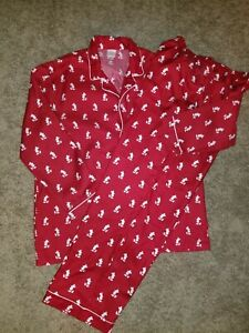 Disney Store Mens Red and White Mickey Mouse 2 Piece Pajamas Size Large