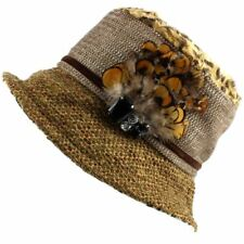 Ladies Hat Cloche Winter Proppa Toppa Feather Leopard Mixed Print