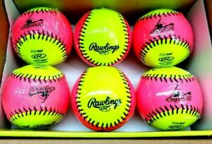 """Rawlings Set of 6 NEW 10"""" Soft Indoor Outdoor Fastpitch Training Softball"""