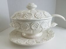 Soup Tureen 4 Piece Vintage White Embossed Ceramic Pottery Floral Made In Italy