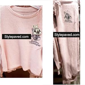 THOMPER BUNNY RABBIT Pyjamas Set Primark Disney Women Soft Ribbed Pink