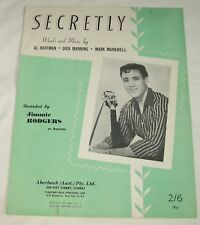JIMMIE RODGERS - SECRETLY - SHEET MUSIC - AUSSIE