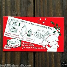 10 Original HENDLER'S ICE CREAM HOLIDAY Recipe Egg Nog Card Kewpie NOS 1950