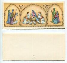 MID CENTURY VINTAGE CHRISTMAS NATIVITY ANGELS SHEEP LAMPS DONKEY CHURCH ART CARD