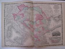 New listing Original Hand Colored Map Johnson's Atlas Austria Turkey in Europe Greece 1863