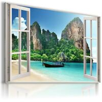 PARADISE BAY OCEAN SEA 3D Window View Canvas Wall Art Picture Large W36 MATAGA .