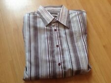 IMMACULATE MENS BROWN STRIPPED LONG SLEEVED RIVER ISLAND  SIZE UK XL REGULAR