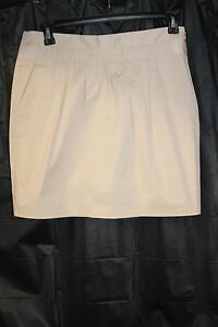 Banana Republic Women's Skirt Stretch Tan Gathered Front above knee Size 10