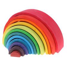 12-Piece Wooden Rainbow Building Stacking Blocks Baby Toddler Montessori Toy