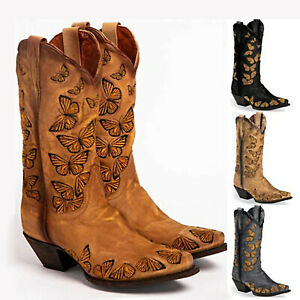 ⭐Womens Ladies Cowgirl Cowboy Mid Calf Boots Winter Knee High Western Shoes Size
