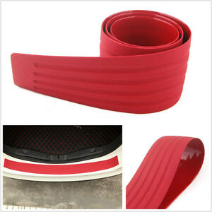 Red 90x8cm Car Offroad Rear Bumper Protector Anti-Scratch Guard Rubber Pad Strip