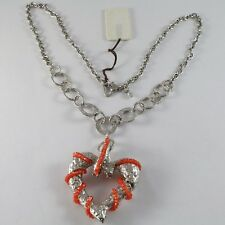 SILVER 925 NECKLACE WITH HANGING CHARM BIG HEART MILLED AND CARNELIAN,CHAIN