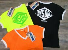 Tshirt ragazza/donna Lonsdale cotone verde acido giallo fluo arancione nero S M