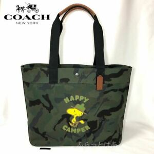 COACH x Snoopy PEANUTS Coach Peanuts Tote Bag Woodstock Camouflage C4025 New