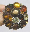 "Vintage Jewelry Fabulous Large Kramer Domed Brooch Rhinestones Glass Lge 2 1/4"""
