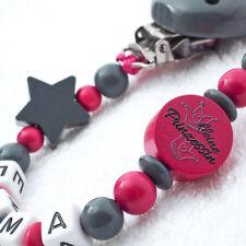 Schnullerkette mit Namen Mädchen ☆ grau pink ☆ kleine Prinzessin ☆ Nuckelkette