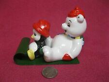 Polar Bear Penguin Riding Sleigh Salt and Pepper Shaker Ceramic 34