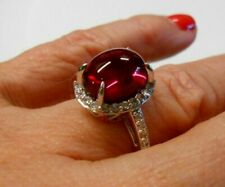 6ct Lab Ruby Cabochon Ring Platinum Clad .925 Silver Halo CZ  Size 7