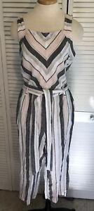 Vince Camuto Womens Medium Linen Jumper Romper Button Linen  Sleeveless Stripe