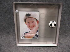 "Soccer Ball Photo Picture Frame Silver Metal 7.5"" Square Holds 4"" X 6"" Photo NEW"
