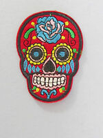"2 7/8"" x2 1/8"" SUGAR SKULL DAY OF THE DEAD iron on patch/ applique 8 colors"