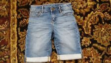 GAP Kids Girls Bermuda Shorts Denim Jeans Med Wash Adjustable Waist Size 8 slim