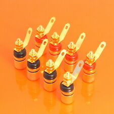 Quality 8pcs Red & Black Gold Plated Binding Speaker Post 4mm Terminal Connector