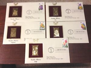 US FDC 1993 Garden Flowers 5 First Day Covers w 22K Gold Stamp Replicas Addr |
