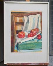 Agosto Pfeiffer (* 1902, aka. Stoccarda) - natura morta con mele rosse su sedia