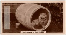 2 Small Kittens In A Wooden Barrel Cask Cute! 1930s Trade Ad Card